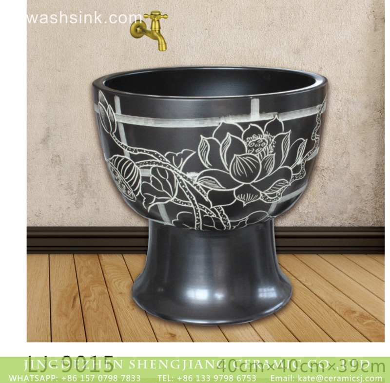 LJ-9015 China product black color ceramic with white flowers pattern floor mop basin  LJ-9015 - shengjiang  ceramic  factory   porcelain art hand basin wash sink
