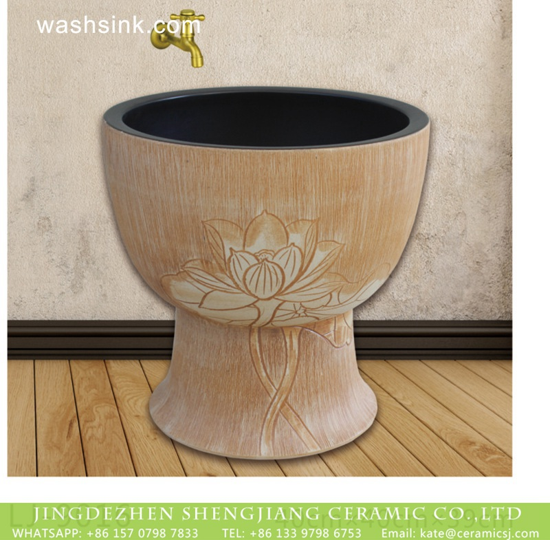 LJ-9016 China traditional style hand carved flowers pattern bathroom mop sink  LJ-9016 - shengjiang  ceramic  factory   porcelain art hand basin wash sink