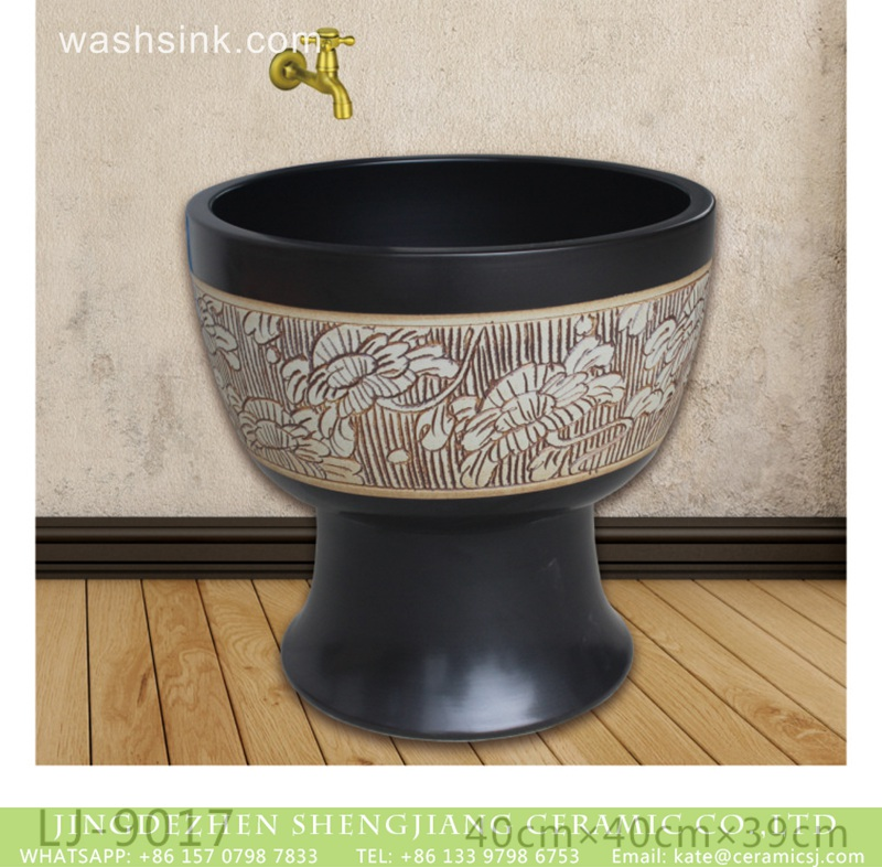 LJ-9017 China style black ceramic with hand carved pattern mop sink  LJ-9017 - shengjiang  ceramic  factory   porcelain art hand basin wash sink