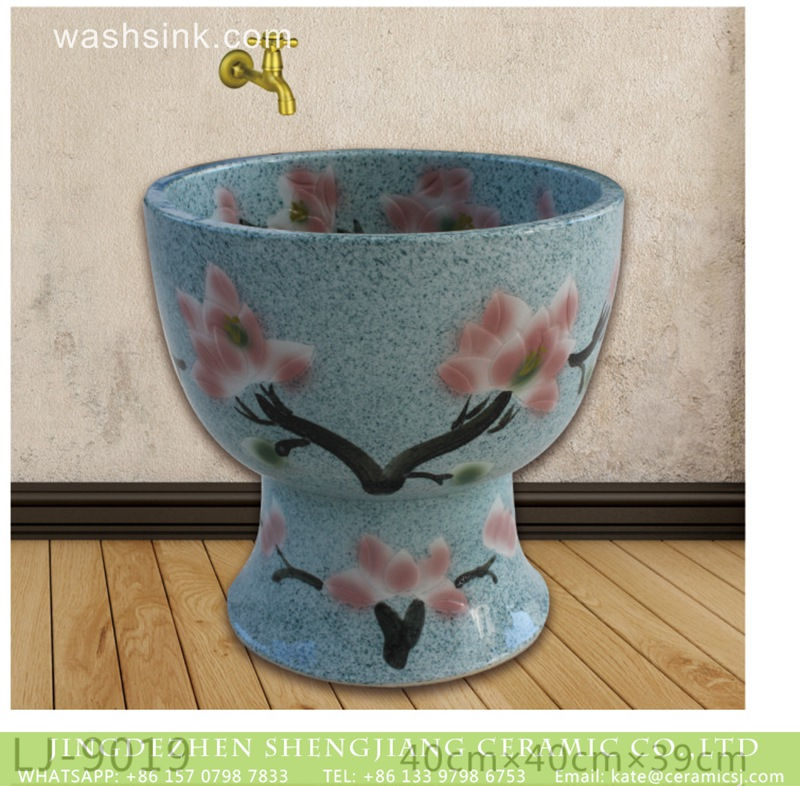LJ-9019 Jingdezhen new product blue color with beautiful flowers design bathroom mop sink  LJ-9019 - shengjiang  ceramic  factory   porcelain art hand basin wash sink