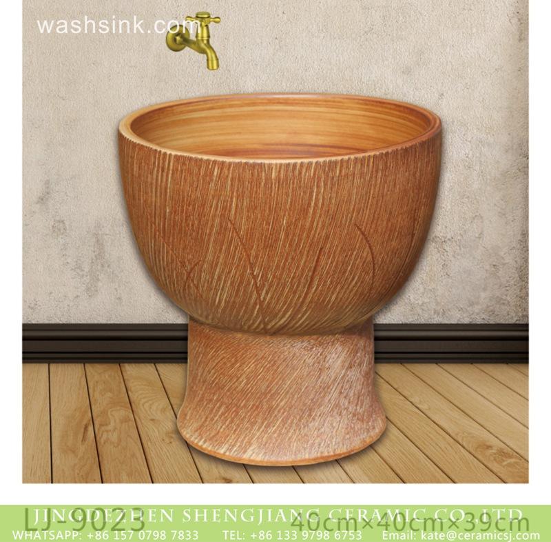 LJ-9023 Jingdezhen wholesale brown color surface floor mop sink  LJ-9023 - shengjiang  ceramic  factory   porcelain art hand basin wash sink