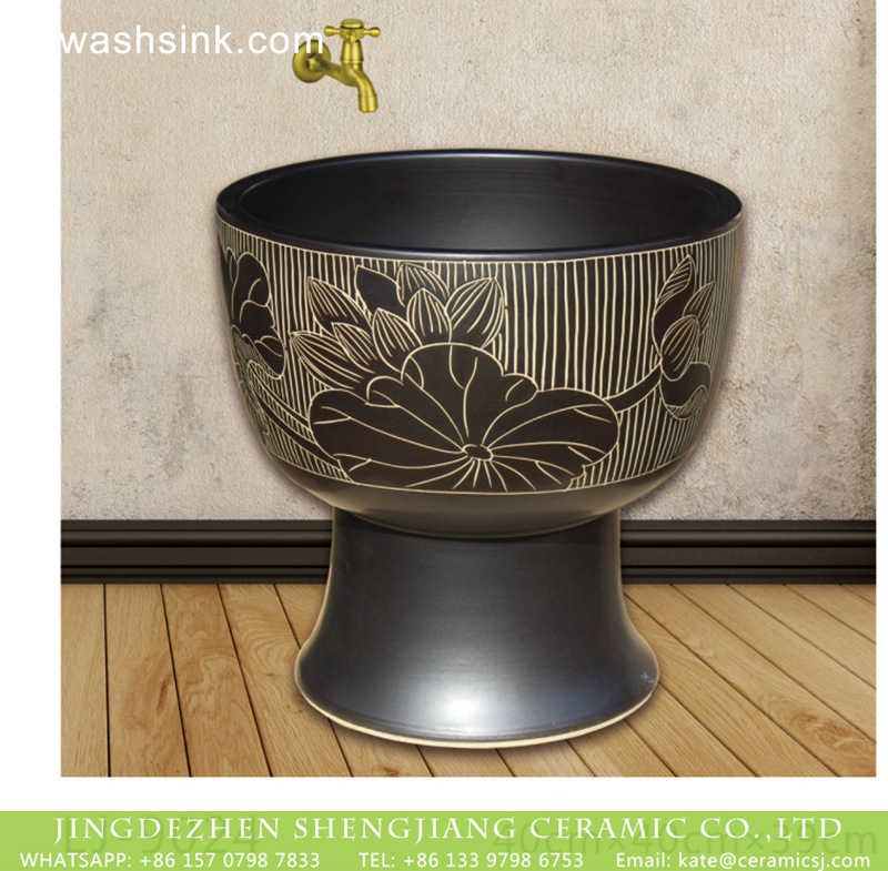 LJ-9024 Shengjiang factory hot sell black color surface with flowers pattern mop sink  LJ-9024 - shengjiang  ceramic  factory   porcelain art hand basin wash sink