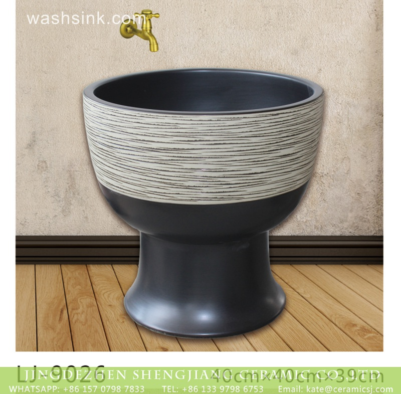 LJ-9026 Jingdezhen new product black and white ceramic bathroom mop sink  LJ-9026 - shengjiang  ceramic  factory   porcelain art hand basin wash sink