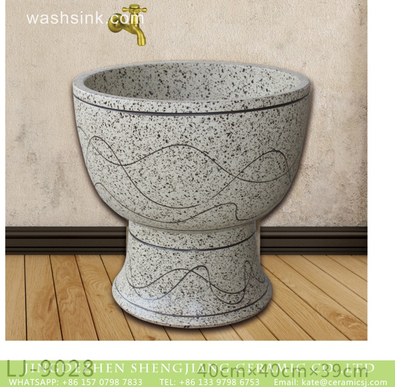 LJ-9028 Hot sell new product hand carved special design  bathroom mop sink  LJ-9028 - shengjiang  ceramic  factory   porcelain art hand basin wash sink