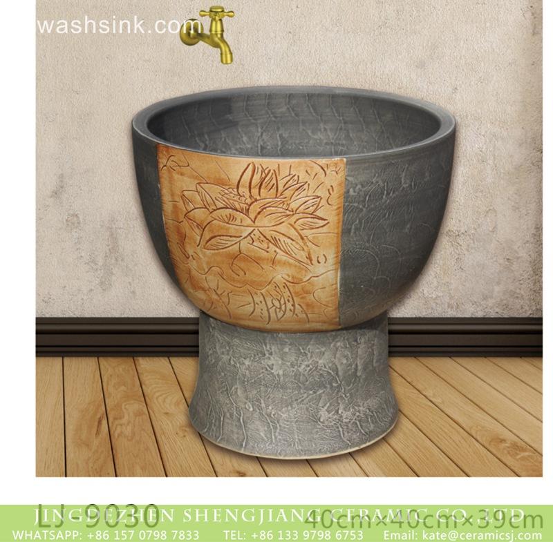 LJ-9030 Shengjiang factory produce hand carved special design bathroom mop sink  LJ-9030 - shengjiang  ceramic  factory   porcelain art hand basin wash sink