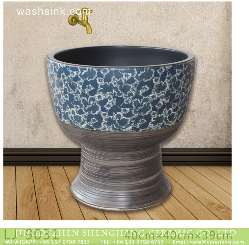 LJ-9031 Hot sell product blue and white ceramic mop basin  LJ-9031 - shengjiang  ceramic  factory   porcelain art hand basin wash sink