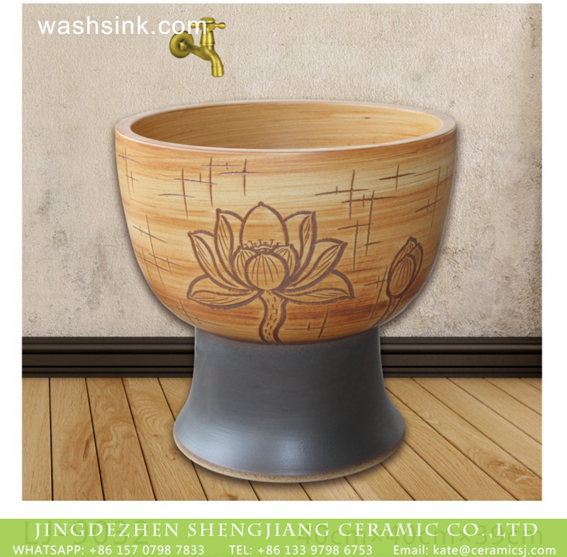 LJ-9032 Jingdezhen factory produce hand carved beautiful flowers pattern mop sink  LJ-9032 - shengjiang  ceramic  factory   porcelain art hand basin wash sink
