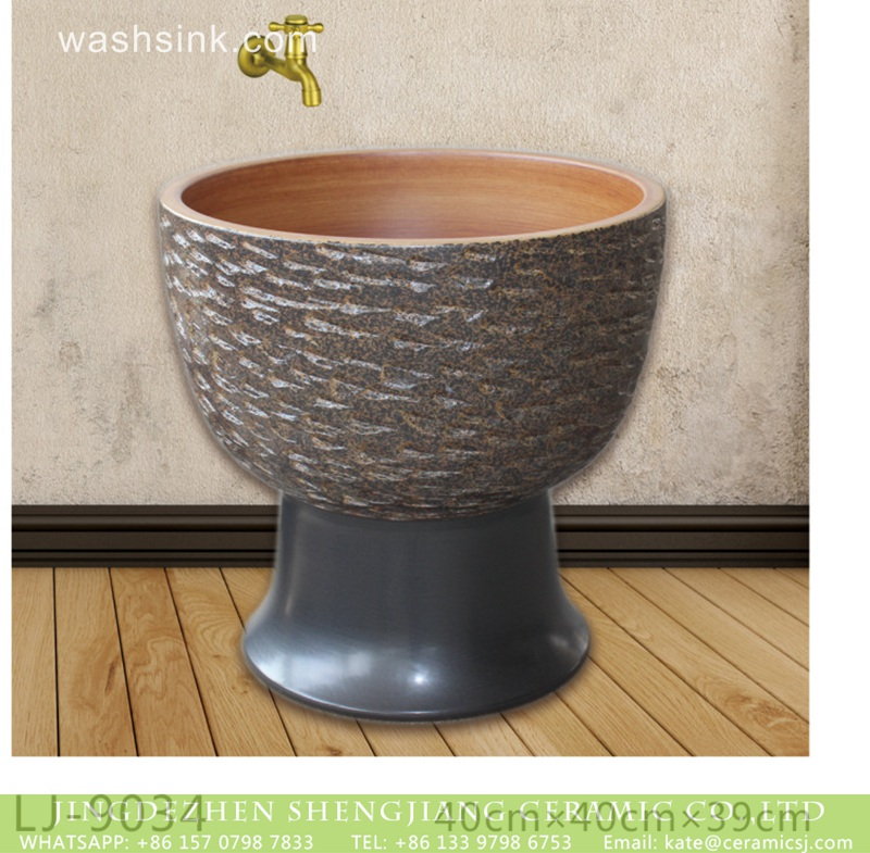 LJ-9034 Shengjiang factory produce dark uneven surface floor mop basin  LJ-9034 - shengjiang  ceramic  factory   porcelain art hand basin wash sink