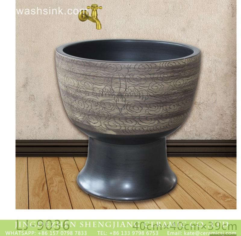 LJ-9036 Jingdezhen wholesale dark color with special design surface floor mop basin  LJ-9036 - shengjiang  ceramic  factory   porcelain art hand basin wash sink