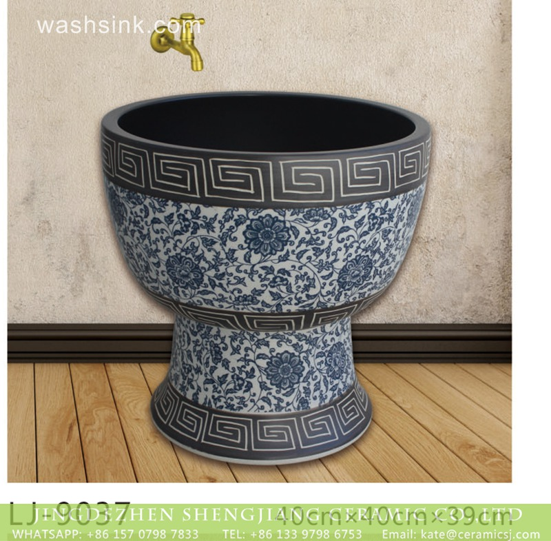 LJ-9037 Jingdezhen factory direct wholesale blue and white ceramic surface floor mop sink  LJ-9037 - shengjiang  ceramic  factory   porcelain art hand basin wash sink