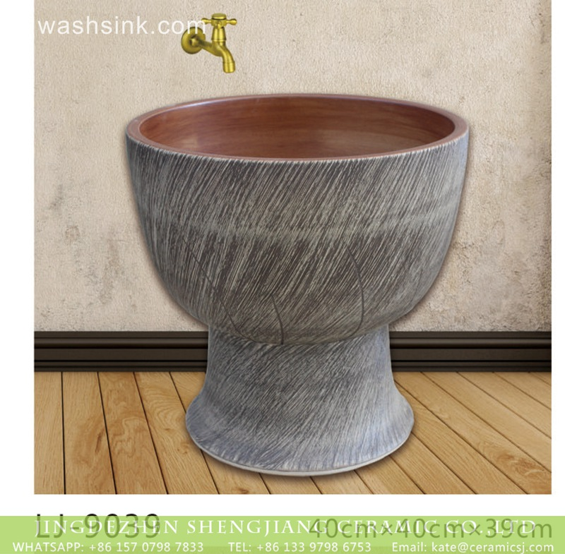 LJ-9039 Shengjiang factory direct brown wall and dark color surface floor mop basin  LJ-9039 - shengjiang  ceramic  factory   porcelain art hand basin wash sink