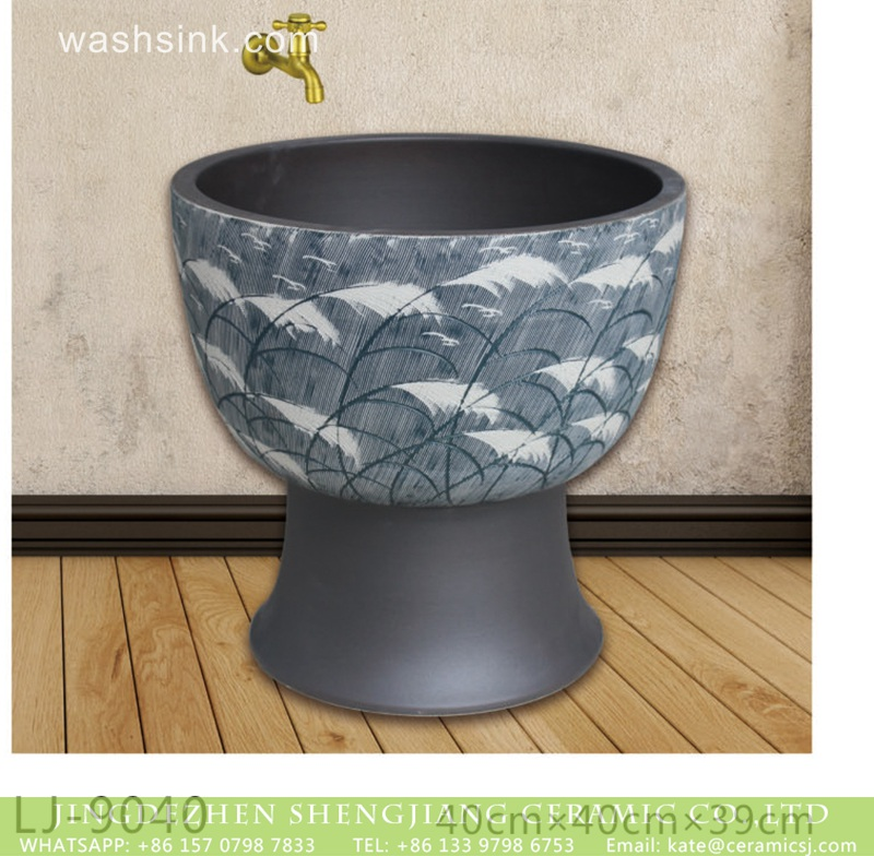 LJ-9040 Chinese art dark blue surface with beautiful feather printing bathroom mop sink  LJ-9040 - shengjiang  ceramic  factory   porcelain art hand basin wash sink