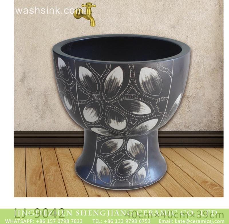 LJ-9042 Shengjiang factory produce dark color with beautiful printing durable ceramic mop sink  LJ-9042 - shengjiang  ceramic  factory   porcelain art hand basin wash sink