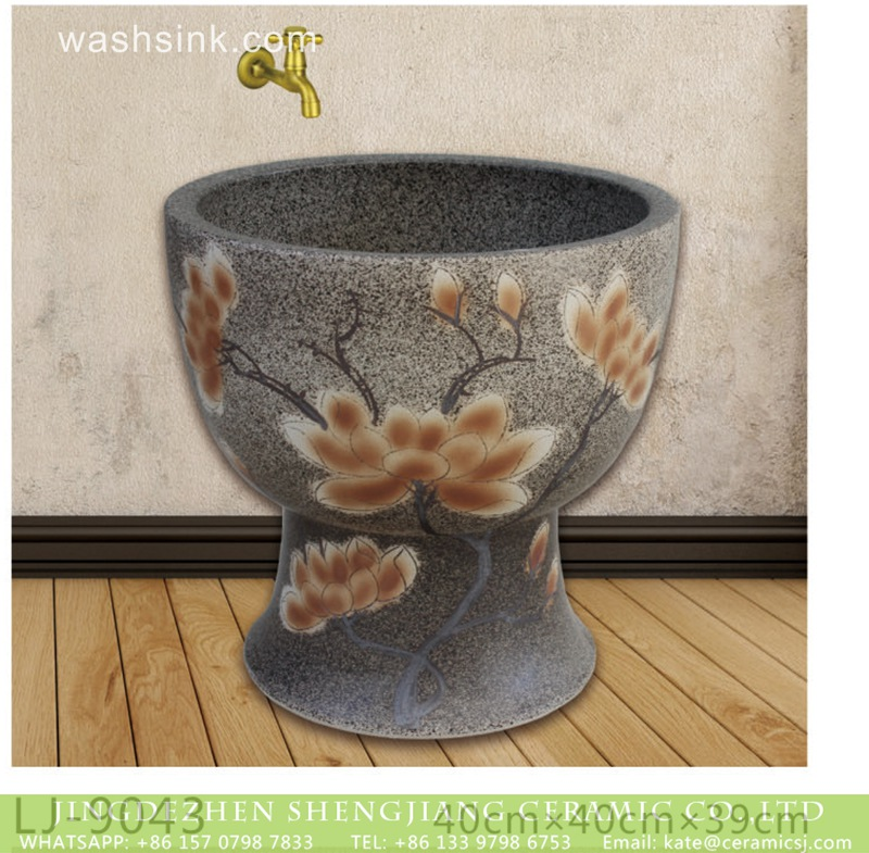 LJ-9043 Shengjiang factory porcelain dark surface with yellow flowers printing floor mop basin  LJ-9043 - shengjiang  ceramic  factory   porcelain art hand basin wash sink