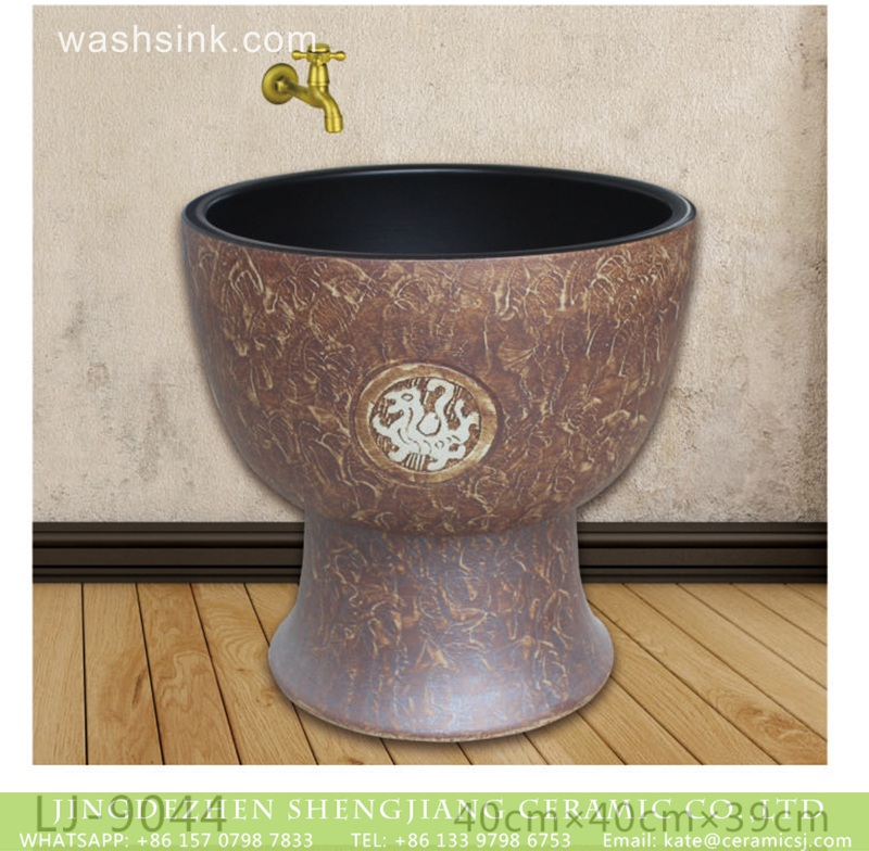 LJ-9044 Hot sell new product black wall and brown color surface bathroom mop sink  LJ-9044 - shengjiang  ceramic  factory   porcelain art hand basin wash sink
