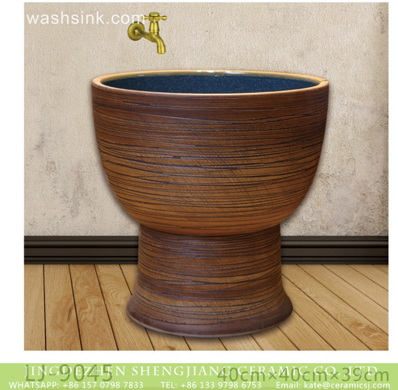 LJ-9045 China traditional high quality ceramic brown color stripes surface durable mop basin  LJ-9045 - shengjiang  ceramic  factory   porcelain art hand basin wash sink