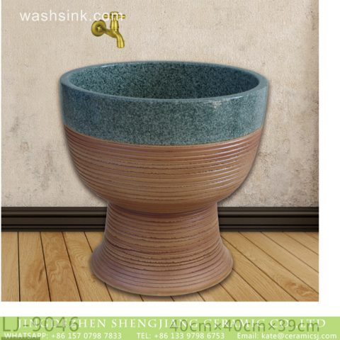 Shengjiang factory produce durable porcelain green and brown surface floor mop sink  LJ-9046