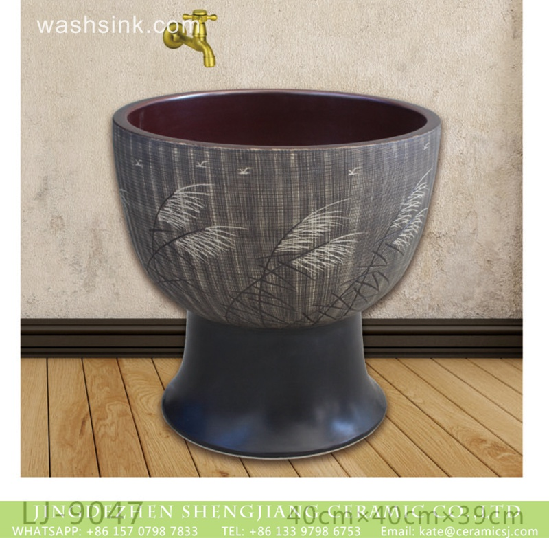 LJ-9047 Jingdezhen factory direct dark color surface with feather printing bathroom mop sink  LJ-9047 - shengjiang  ceramic  factory   porcelain art hand basin wash sink