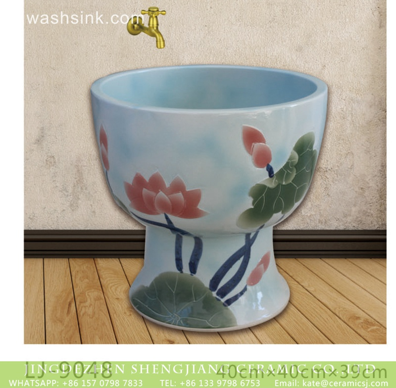 LJ-9048 Shengjiang factory produce the design color glaze art ceramic flower mop wash basin  LJ-9048 - shengjiang  ceramic  factory   porcelain art hand basin wash sink