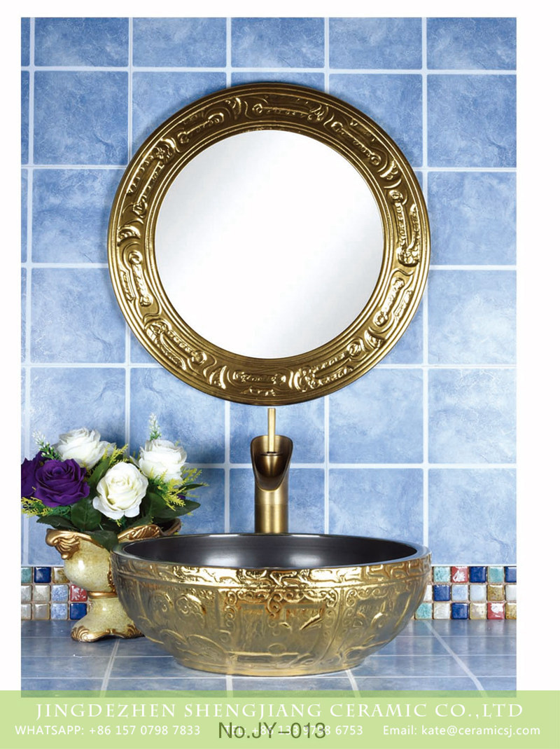 SJJY-013-48金银台盆_03 Shengjiang factory direct gold surface and black wall wash hand basin - shengjiang  ceramic  factory   porcelain art hand basin wash sink