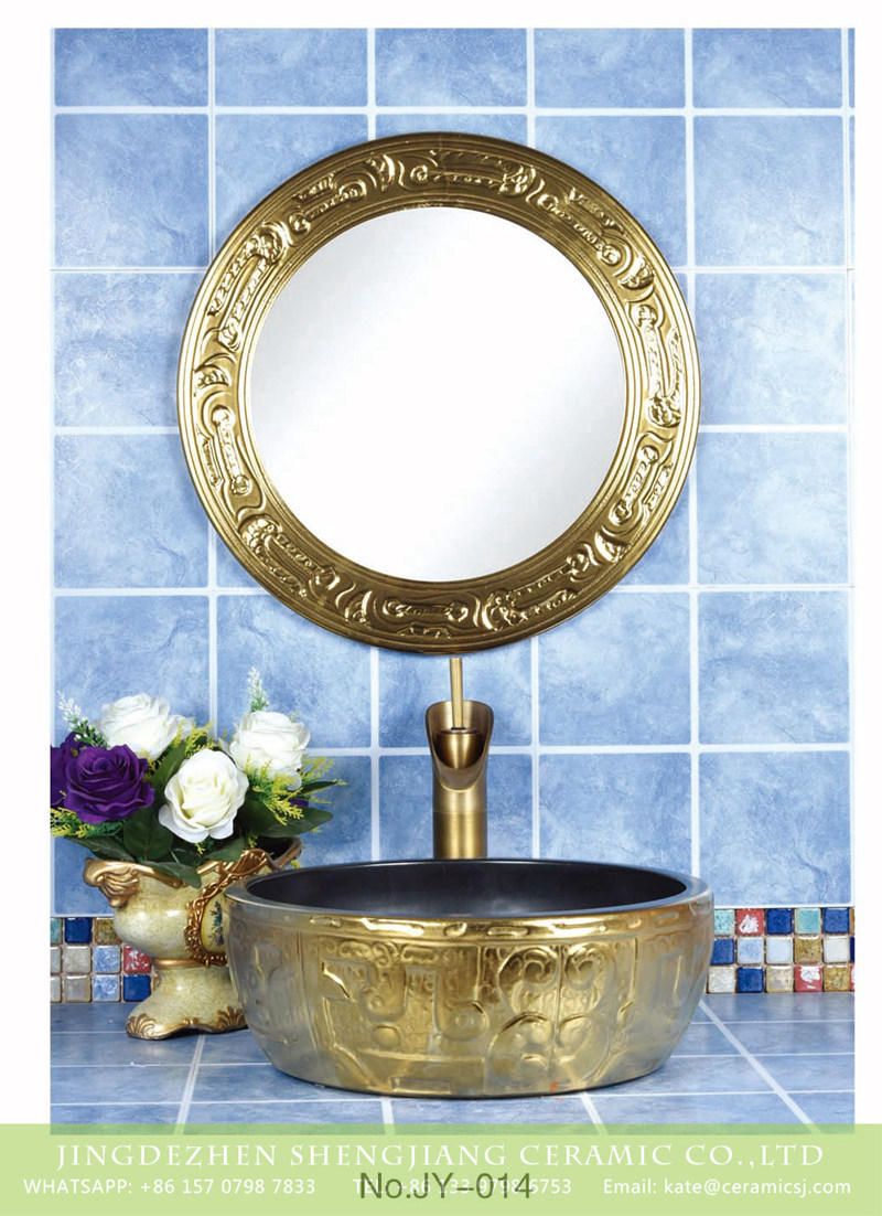 SJJY-014-48金银台盆_04 Hot sale product gold color with special pattern sanitory ware - shengjiang  ceramic  factory   porcelain art hand basin wash sink