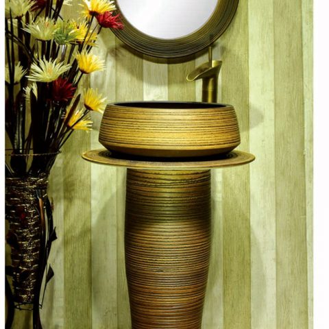 Chinese style high quality porcelain brown color with stripes one piece