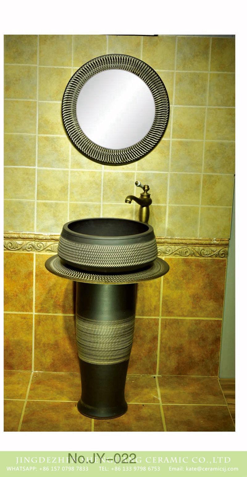 SJJY-022-68立柱盆_09 Porcelain city Jingdezhen hand carved durable ceramic black pedestal basin - shengjiang  ceramic  factory   porcelain art hand basin wash sink