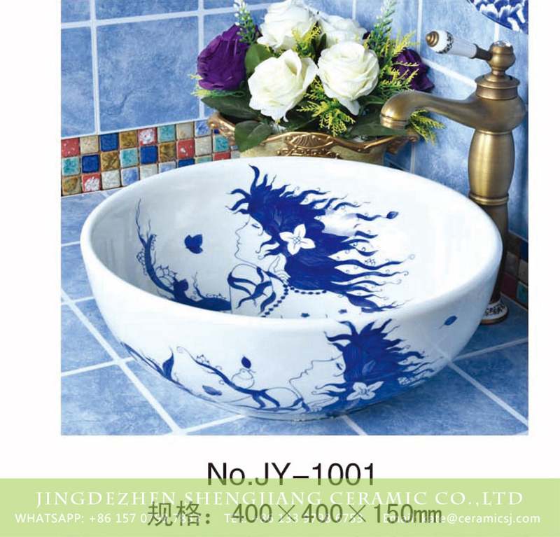 SJJY-1001-6青花台盘_03-1 Hand painted pattern of beautiful women blue and white durable wash basin  SJJY-1001-6 - shengjiang  ceramic  factory   porcelain art hand basin wash sink