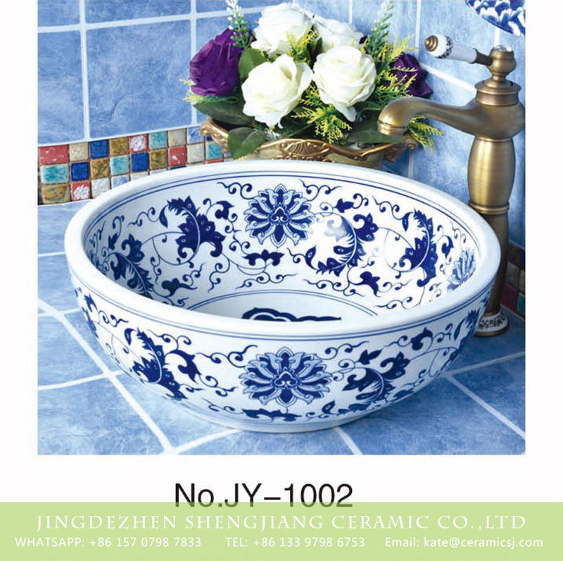 SJJY-1002-6青花台盘_04 Shengjiang factory produce durable blue and white ceramic with flowers design sink  SJJY-1002-6 - shengjiang  ceramic  factory   porcelain art hand basin wash sink