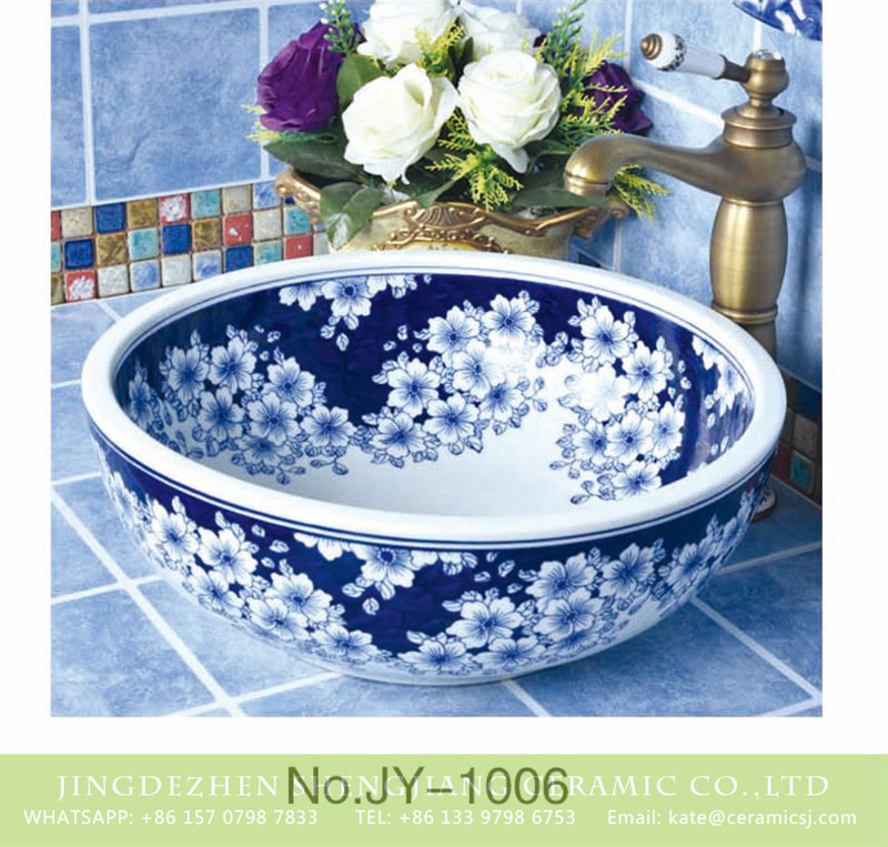 SJJY-1006-6青花台盘_09 Hot sales blue and white ceramic with wintersweet pattern wash basin   SJJY-1006-6 - shengjiang  ceramic  factory   porcelain art hand basin wash sink