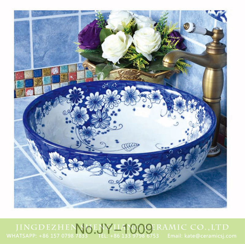 SJJY-1009-6青花台盘_12 China traditional style with beautiful flowers design vanity basin      SJJY-1009-6 - shengjiang  ceramic  factory   porcelain art hand basin wash sink