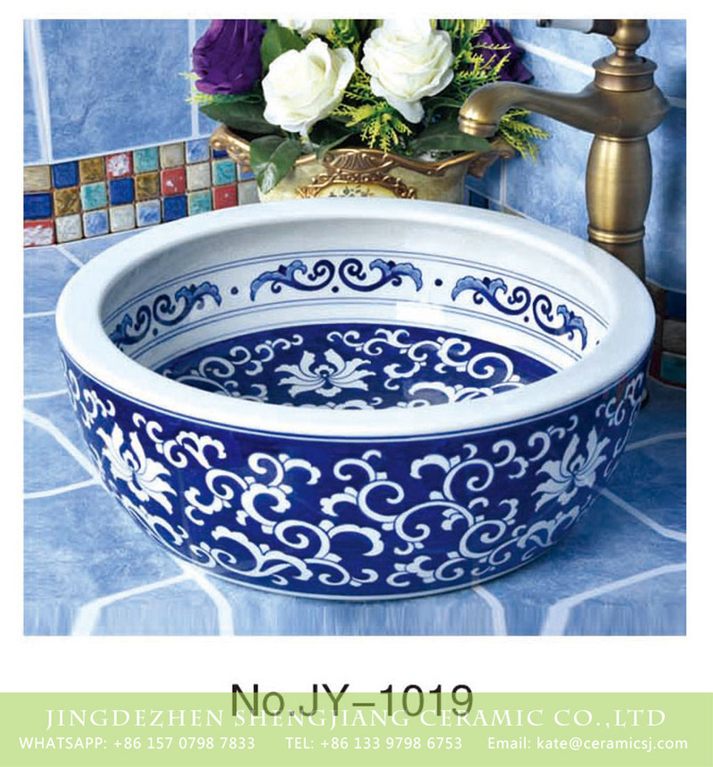 SJJY-1019-7青花台盘_10 Jingdezhen factory produce new product blue and white ceramic with special pattern wash basin    SJJY-1019-7 - shengjiang  ceramic  factory   porcelain art hand basin wash sink