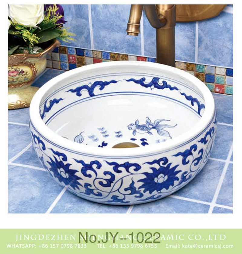 SJJY-1022-7青花台盘_13 Hand paint art basin with goldfish pattern wash basin       SJJY-1022-7 - shengjiang  ceramic  factory   porcelain art hand basin wash sink