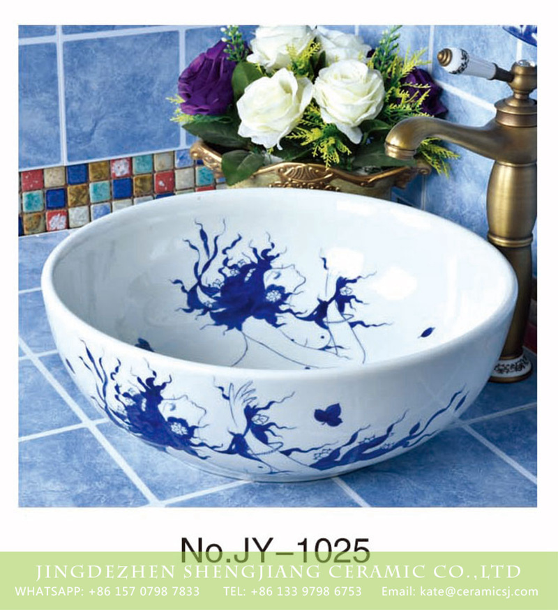 SJJY-1025-9青花台盘_03 China high quality ceramic with nymph design sink bowls      SJJY-1025-9 - shengjiang  ceramic  factory   porcelain art hand basin wash sink