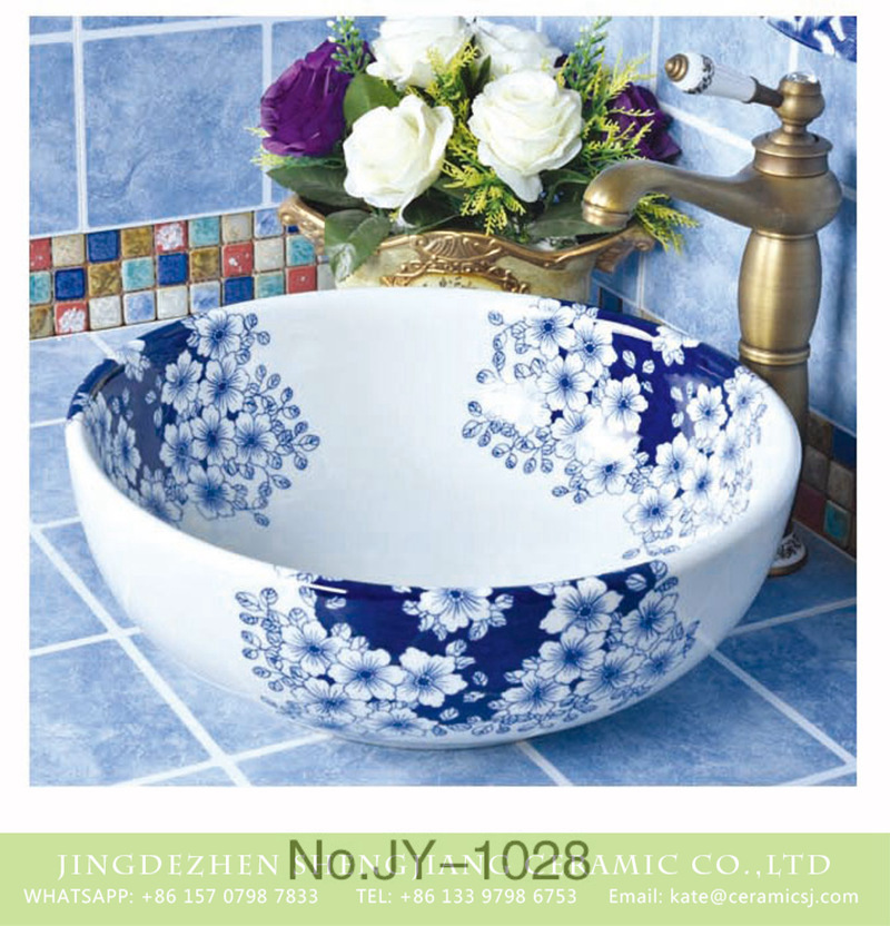 SJJY-1028-9青花台盘_07 Shengjiang factory produce durable ceramic with the beautiful plum blossom pattern lavabo       SJJY-1028-9 - shengjiang  ceramic  factory   porcelain art hand basin wash sink