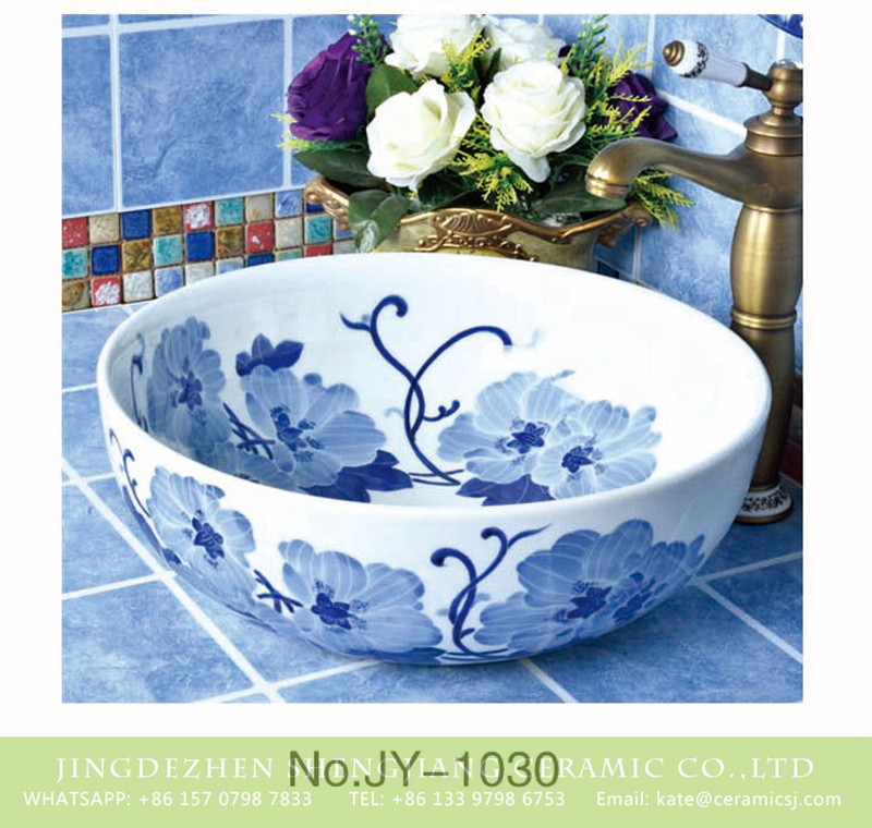 SJJY-1030-9青花台盘_09 China Jingdezhen produce blue color flowers pattern round bathroom sink    SJJY-1030-9 - shengjiang  ceramic  factory   porcelain art hand basin wash sink