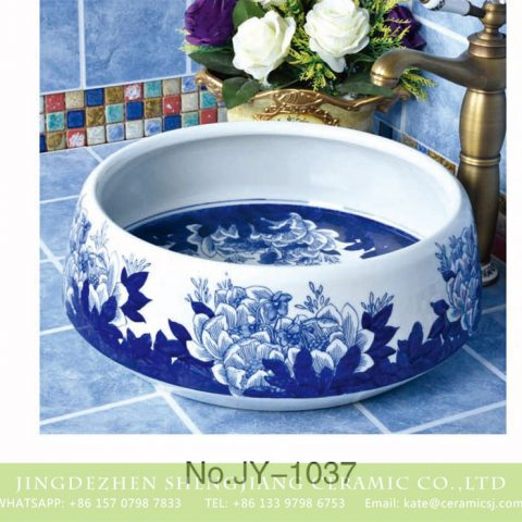 China hot sale new product blue floral surface wash hand basin       SJJY-1037-12