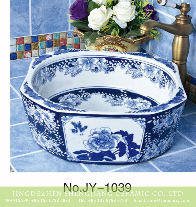 SJJY-1039-12仿古四方盆_05 Shengjiang factory produce high quality blue and white octagonal shape sanitary ware      SJJY-1039-12 - shengjiang  ceramic  factory   porcelain art hand basin wash sink