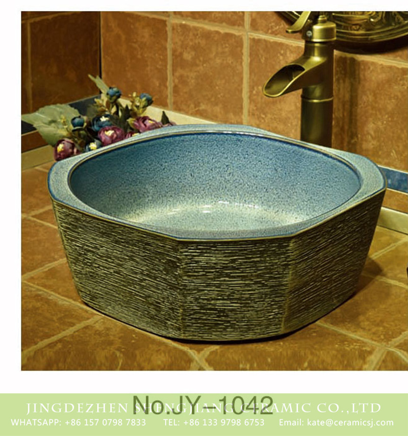SJJY-1042-12仿古四方盆_08 Hot sale high quality product blue color high gloss wall vanity basin     SJJY-1042-12 - shengjiang  ceramic  factory   porcelain art hand basin wash sink