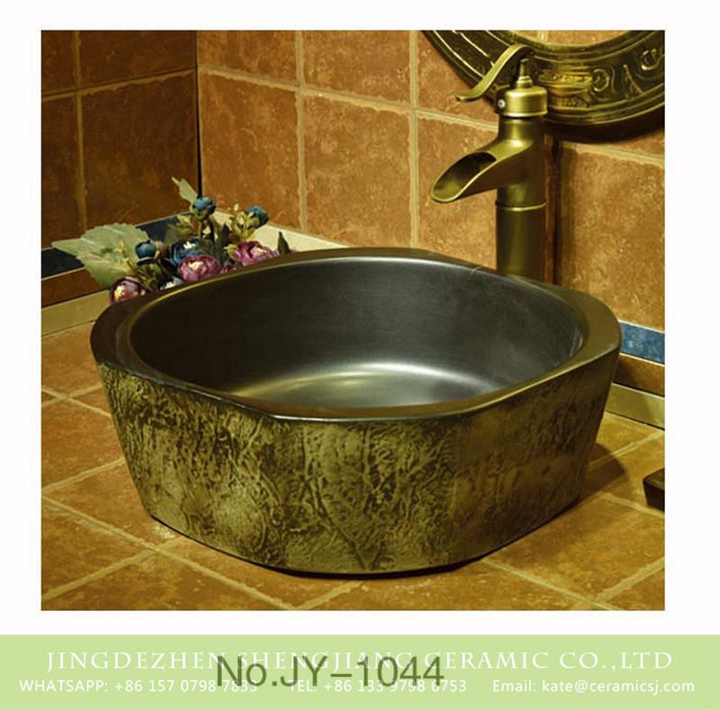 SJJY-1044-12仿古四方盆_11 Jingdezhen wholesale durable black color smooth wall wash hand basin    SJJY-1044-12 - shengjiang  ceramic  factory   porcelain art hand basin wash sink