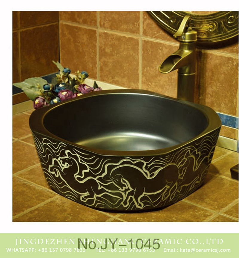 SJJY-1045-12仿古四方盆_12 Shengjiang factory produce high quality porcelain with special horse pattern wash sink     SJJY-1045-12 - shengjiang  ceramic  factory   porcelain art hand basin wash sink