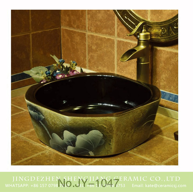 SJJY-1047-12仿古四方盆_14 Hot sale black color smooth wall and painted flowers pattern surface octagonal shape lavabo      SJJY-1047-12 - shengjiang  ceramic  factory   porcelain art hand basin wash sink