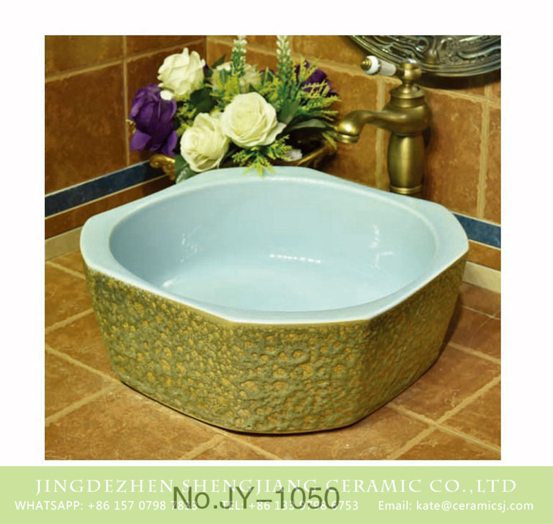 SJJY-1050-13仿古四方盆_04 New product light blue smooth wall and uneven special design surface sanitary ware     SJJY-1050-13 - shengjiang  ceramic  factory   porcelain art hand basin wash sink