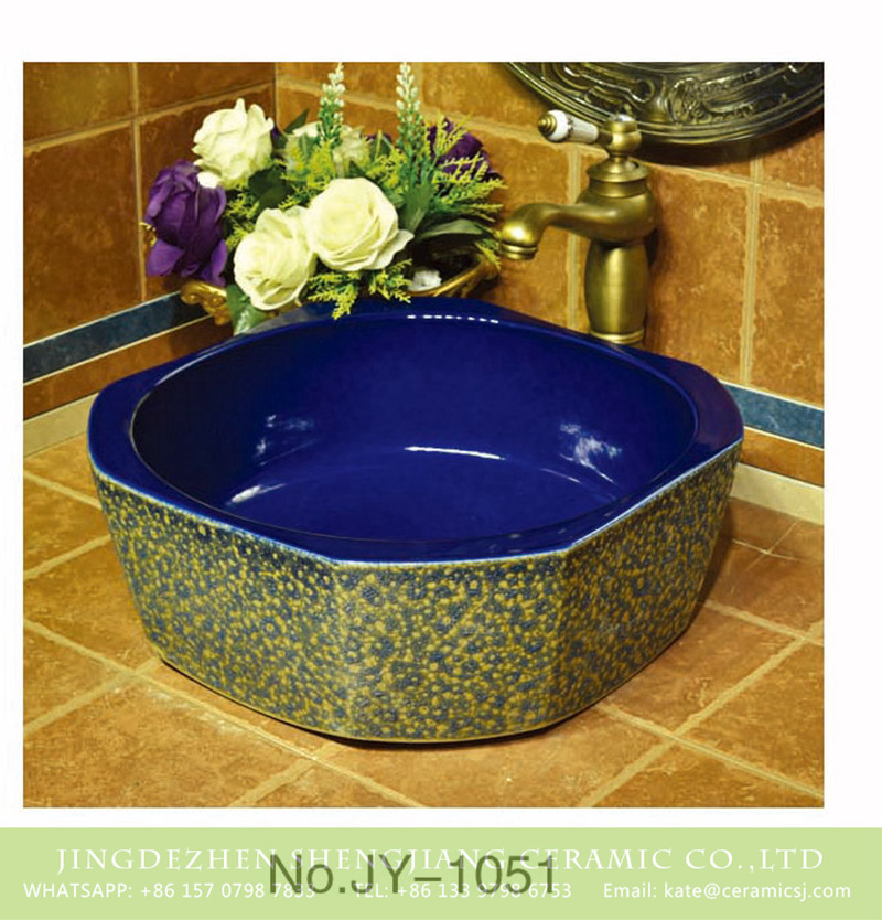 SJJY-1051-13仿古四方盆_05 The Ming dynasty octagonal shape ceramic dark blue color wall and beautiful flowers pattern surface sink   SJJY-1051-13 - shengjiang  ceramic  factory   porcelain art hand basin wash sink