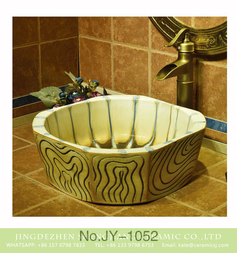SJJY-1052-13仿古四方盆_07 Jingdezhen factory produce hand carved antique wood stripes surface lavabo    SJJY-1052-13 - shengjiang  ceramic  factory   porcelain art hand basin wash sink