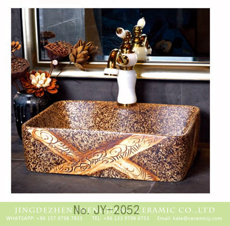 SJJY-1052-8有孔四方台盆_04 China traditional high quality art marble pattern sanitary ware     SJJY-1052-8 - shengjiang  ceramic  factory   porcelain art hand basin wash sink