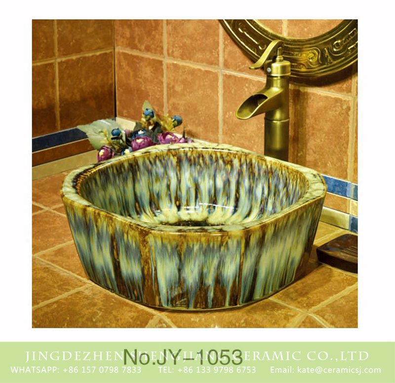 SJJY-1053-13仿古四方盆_08 Jingdezhen factory produce art durable octagonal shape vanity basin    SJJY-1053-13 - shengjiang  ceramic  factory   porcelain art hand basin wash sink