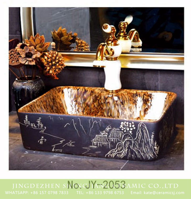 SJJY-1053-8有孔四方台盆_05 Made in China the antique life scene pattern surface square wash basin     SJJY-1053-8 - shengjiang  ceramic  factory   porcelain art hand basin wash sink