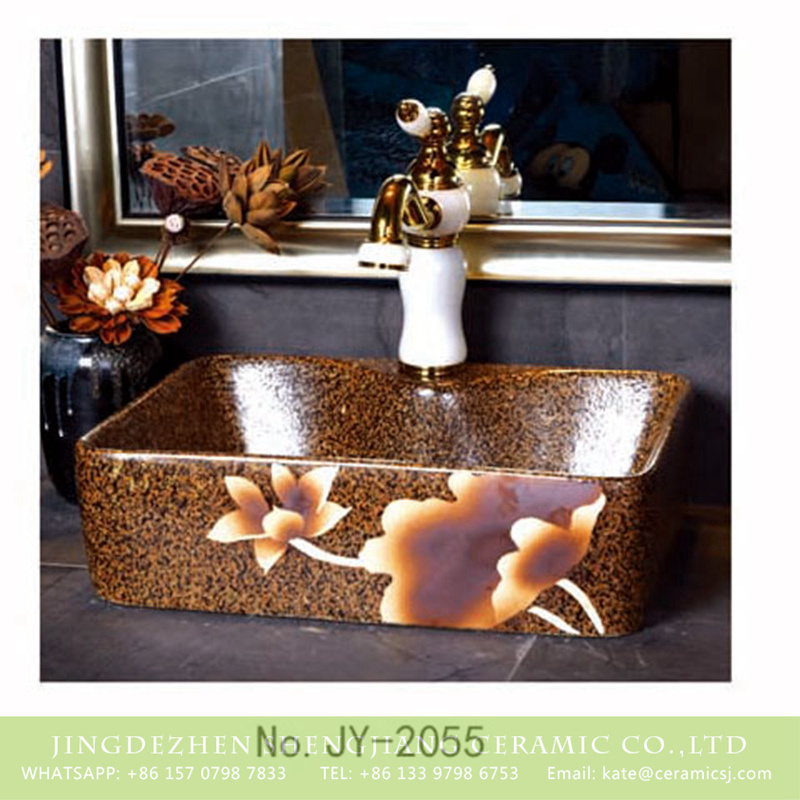 SJJY-1055-8有孔四方台盆_08 Hot sale product brown color with hand painted flowers pattern sanitary ware    SJJY-1055-8 - shengjiang  ceramic  factory   porcelain art hand basin wash sink