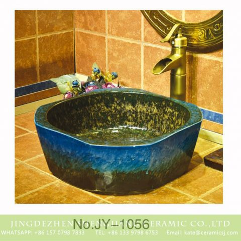 Hot sale hand painted dark blue color art wash basin    SJJY-1056-13